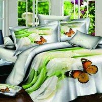 Sprei Katun Jepang 3D Motif White Tulip And Butterfly Uk.200x200x30