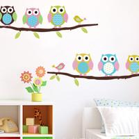 wall paper / stiker tembok burung hantu owl kartun lucu