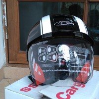 Helm Motor Cargloss Murah YCB Line Two White Deep Black