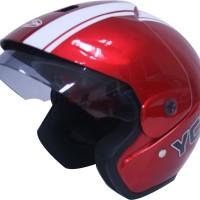 Helm Motor Cargloss Murah YCB Line Two White Vivid Red