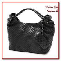 Korean Fashion Impress Bag BLACK (Tas Fashion Korean Style Model Anyam
