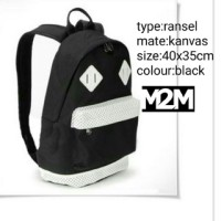 Bagpack Black White m2m / Tas Ransel / Tas Gendong