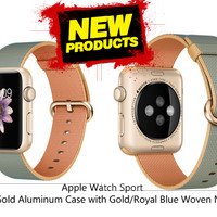 Apple Watch 42mm Gold Aluminum Case with Gold/Royal Blue Woven Nylon