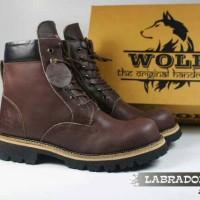 ORIGINAL !! Sepatu boot pria safety WOLF Lablador kulit asli full up