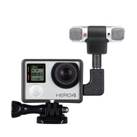GoPro Audio Recording External Stereo Microphone Adapter + Stand Frame