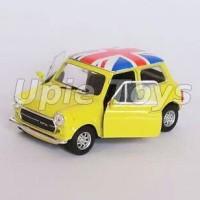 Miniatur Mobil Mini Cooper 1300 kuning skala 1/36 Nex
