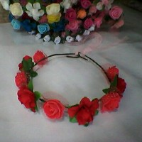FLOWER CROWN/ Mahkota bunga MERAH ; Gabriell accessories