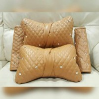 Set Bantal Mobil Kulit POLOS Brown (Bantal Headrest + Cover Seatbelt)