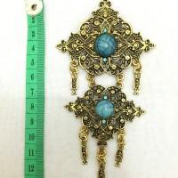 harga Bros etnik ukir perak bakar manik swarovski biru utk hijab/kebaya Tokopedia.com