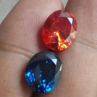2 PCS BATU (Orange & Blue) SAFIR OVAL DIAMOND