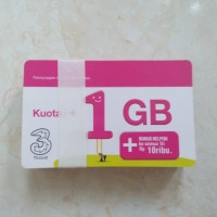 Jual Voucher Three 1GB, Kuota Internet 3 data Tri 1GB 24 Jam + Pulsa 10rb Murah