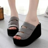 Sandal Wedges Wanita Casual Hitam SDW65 | Sandal Wedges Hitam | Wedges
