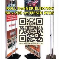 Roll Banner Elektrik 80 x 200 cm Mesin Atas | Kerangka Saja