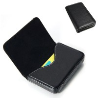 Black Leather Business Credit ID Card Holder Case Walet