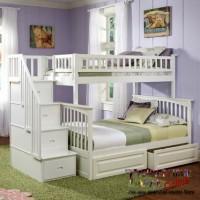 Tempat Tidur Anak Tingkat Ranjang 2 Susun Modern Kayu Mahoni