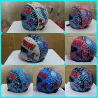 harga helm retro anak kaca fullface motif spiderman Tokopedia.com