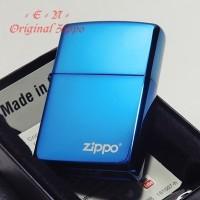 Zippo Sapphire Blue Logo 20446ZL Safir Original Lighter Korek Api USA