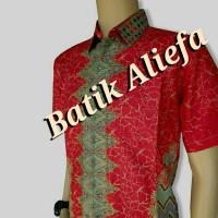 Kemeja Hem Batik Pria Rang-Rang Merah Batik Pekalongan