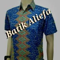 Kemeja Hem Batik Pria Rang-Rang Biru Batik Pekalongan