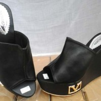 harga Sandal Sepatu wanita Cewek Harga Murah Model Wedges AD 105 Hitam Bagus Tokopedia.com