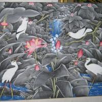harga Lukisan Burung Jalak dan Bangau dari Bali (Uk. 60 x 80 cm) Latar Hijau Tokopedia.com