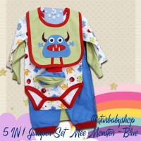 Baju Bayi 5in1 Baby Jumper Set - Mee Monster Blue