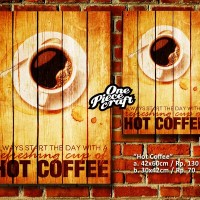 POSTER KAYU IKLAN JADUL HOT COFFEE WOOD MODEL (UKURAN 42X60)