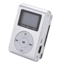 Pod MP3 Player TF card dengan Small Clip Silver dan layar LCD