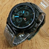 JAM TANGAN PRIA RANTAI SWISS ARMY REPLIKA EXPEDITION E 6650 HITAM BIRU