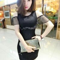 dress gaun pesta brukat lace hitam putih import