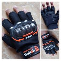 Jual Sarung Tangan Monster Racing Energy Half Finger Warna Orange Murah