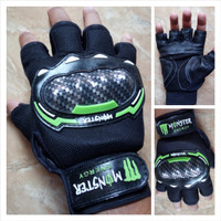 Jual Sarung Tangan Monster Racing Energy Half Finger Warna Hijau Murah