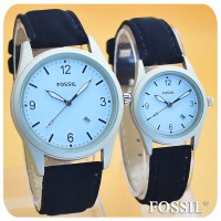 JAM TANGAN FOSSIL TITANIUM WHITE BLACK COUPLE