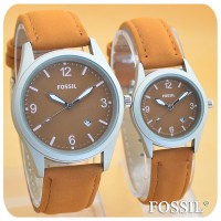 JAM TANGAN FOSSIL TITANIUM BROWN COUPLE