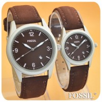 JAM TANGAN FOSSIL TITANIUM DARK BROWN COUPLE