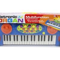 Mainan Alat Musik Keyboard / Electronic Organ / Piano Anak Biru 3702A