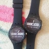 swatch rubber couple jam bisa tulis nama/tanggal/foto/logo