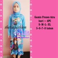 frozen baju gamis muslim anak islami karakter kartun _frozen biru pita