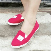 harga Flat Shoes Sepatu Jalan Santai Smile Merah Tokopedia.com