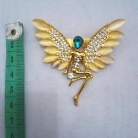 harga Bros metal gold swarovski peri sayap unik utk hijab/kebaya/dress/jas Tokopedia.com