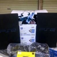 PAKET KOMPLIT Playstation PS2 Sony FAT + Hdd 40GB + 2 Stick Getar