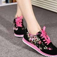 Sepatu Boot Casual Flowers Wanita / Cewe Sport Motif Bunga Keren