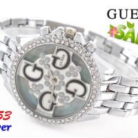 ( SALE ) Jam Tangan Wanita Branded Impor Guess 7153 Super Perak Silver