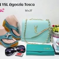 harga Tas Paket Sepatu 5in1 / Tas Wedges Boot Sandal 5 in 1 YSL Agnezia Tokopedia.com
