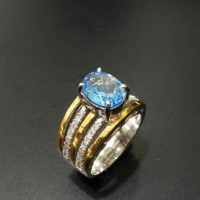 Blue Topaz ikat Emas Berlian New