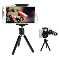 Lensa Tele 8X Zoom + Tripod Mini Untuk Smartphone