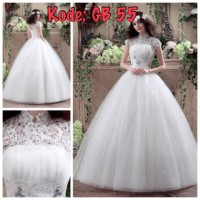gaun pengantin berlengan brokat import baru harga murah