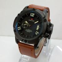 harga jam tangan pria SwissArmy 002 leather light brown Tokopedia.com
