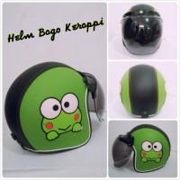 helm bogo ORIGINAL full kulit face keroppi warna hijau list hitam