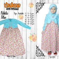Dress NIKITA Blue (+Jilbab), Size S by Thaluna, Katun Jepang